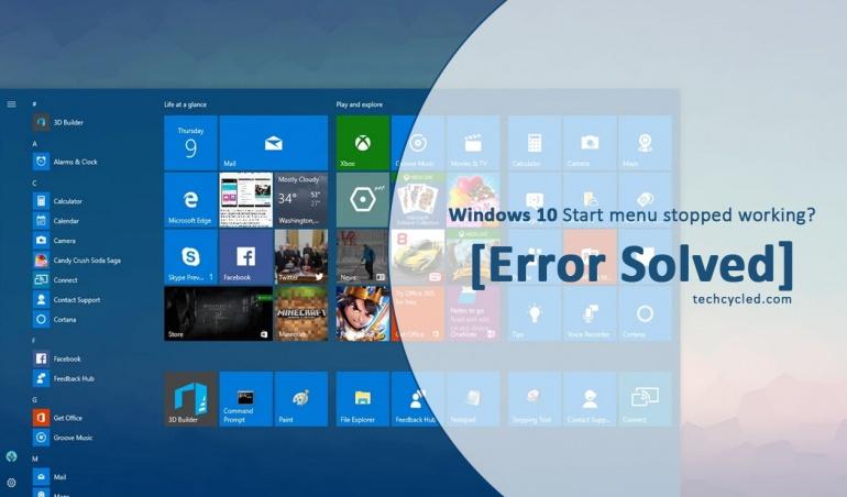Windows 10 start menu gone